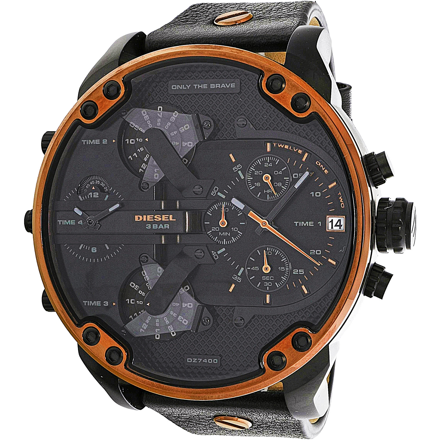 Diesel Men's Mr. Daddy 2.0 DZ7400 Black Leather Quartz Fashion Watch