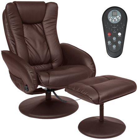 Best Choice Products Faux Leather Electric Massage Recliner Couch Chair with Stool Footrest Ottoman, Remote Control, 5 Heat & Massage Modes, Side Pockets, (Best Quality Reclining Sofa)