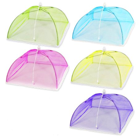 5 Pack-17 Inches Large Pop-Up Mesh Food Cover Tent, Food Protector Covers Reusable and Collapsible Outdoor Picnic Food Covers Tent For Bugs, Parties Picnics, BBQs