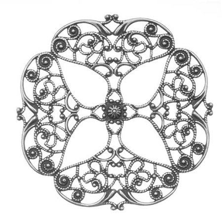Antiqued Silver Plated Full Openwork Flower Filigree Stamping 62mm (1)