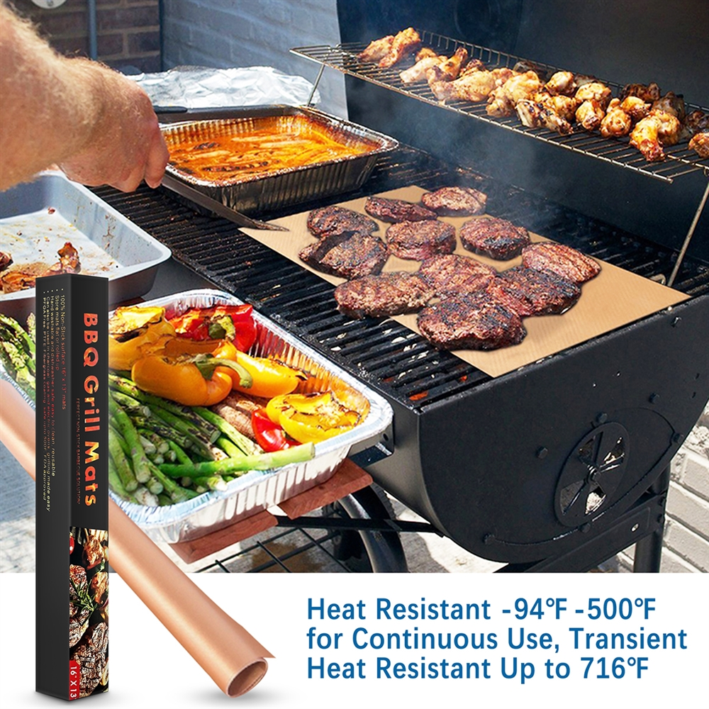 Round Barbecue Grill Mat Heat Resistant Non-Stick Roast Sheet Cooking Pad L/&6