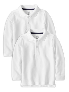 Wonder Nation Toddler Boys School Uniform Short Sleeve Double Pique Polo Shirt, 2-Pack Value Bundle