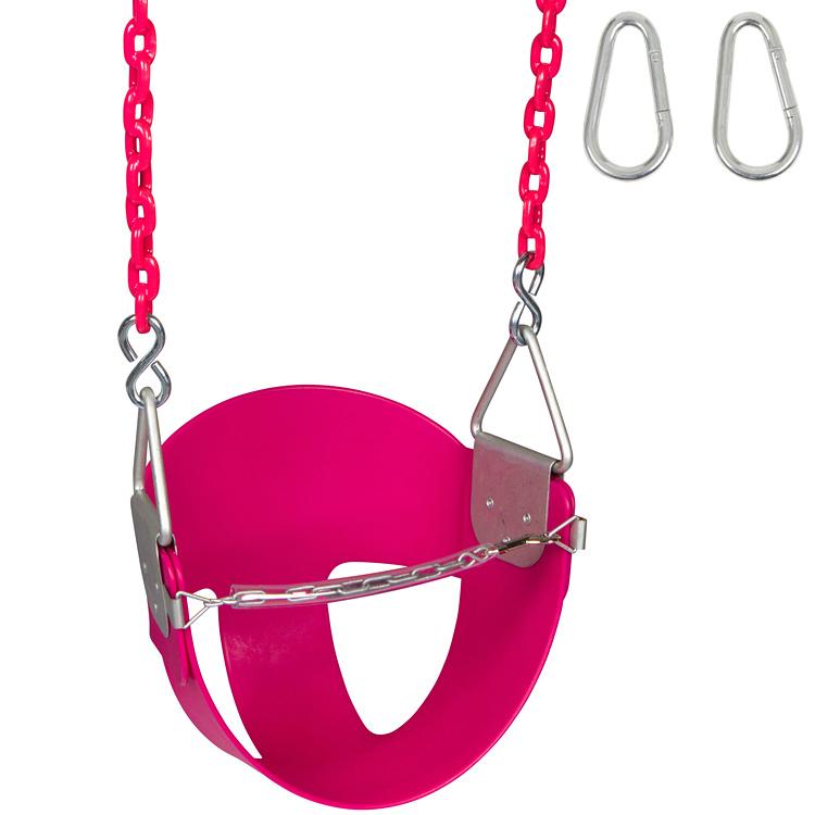 Swing Set Stuff Inc. Highback Half Bucket with 8.5 Ft. Coated Chains (Pink)