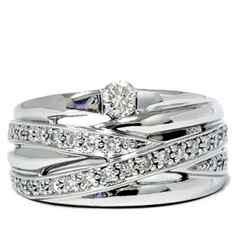3/4ct Large Real Diamond Overlay 14K White Gold Ring