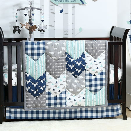 Woodland Trail 6 Piece Baby Boy Crib Bedding Set Mountain Moose Nursery By The Peanut