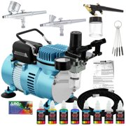 Master Airbrush Professional 3 Airbrush System with Cool Runner Dual Fan Compressor, 6 Color Primary Paint Set, Guide