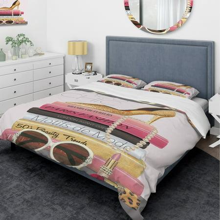 - DESIGN ART Designart 'Paris Style II Gold and Black Tres Chic' Glam Bedding Set - Duvet Cover & Shams