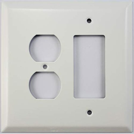 Over Sized Jumbo Smooth White 2 Gang Combo Wall Plate - 1 Duplex Outlet 1 GFCI/Rocker (Hole 2 Gang Aluminum Outlet)