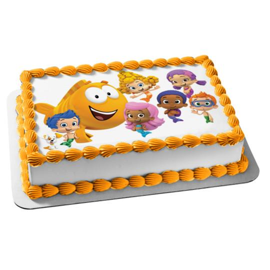 Pleasant 1 2 Sheet Bubble Guppies Edible Photo Birthday Cake Topper Birthday Cards Printable Trancafe Filternl