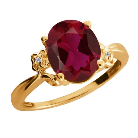 3 38 Ct Oval Red Created Ruby Diamond 18K Yellow Gold Ring