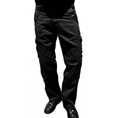 SkylineWears Mens Cargo pants 100% Cotton Casual Trousers Bullet Black 30x30