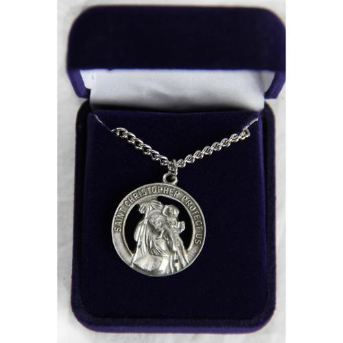 "24"" Religious Pewter Saint Christopher Protect Us Medallion Necklace"
