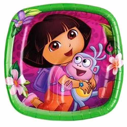 """DesignWare Dora the Explorer Dessert Plate 7"""" Square, 8-Count"""