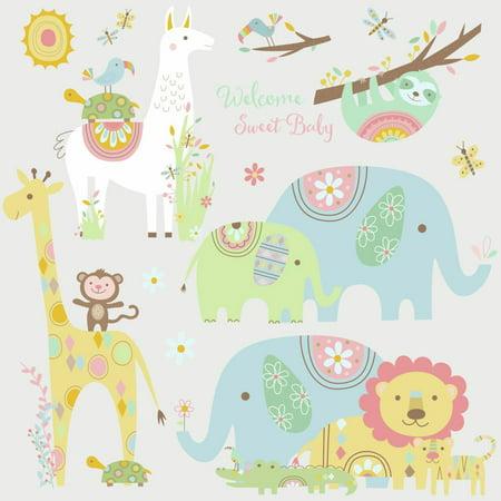 TRIBAL BABY ANIMALS Wall Decals Big Elephant Giraffe Jungle Stickers Baby Nursery Decor (Giraffe Nursery Decor)