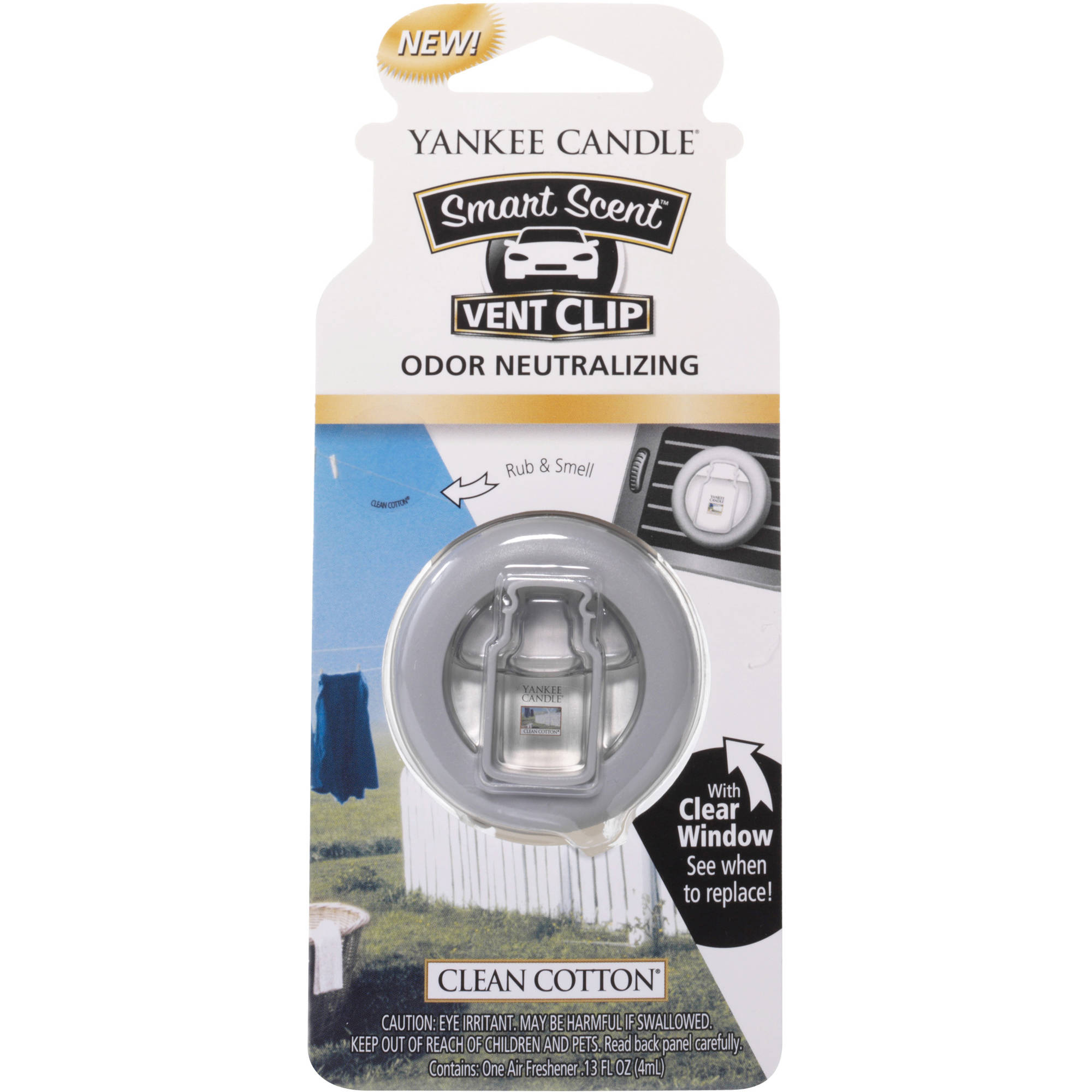 Yankee Candle Clean Cotton - 0.13 oz. Smart Scent Air Freshener Vent Clip
