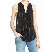 free people new black women's size xs sheer ruffled button down shirt $78