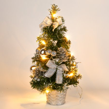 40CM Battery Powered Luxury Tabletop Christmas Tree With LED Light String Hanging Tree Decorations Pine Tree (Battery Not Included) - This Is Halloween Tabletop Tree Collection