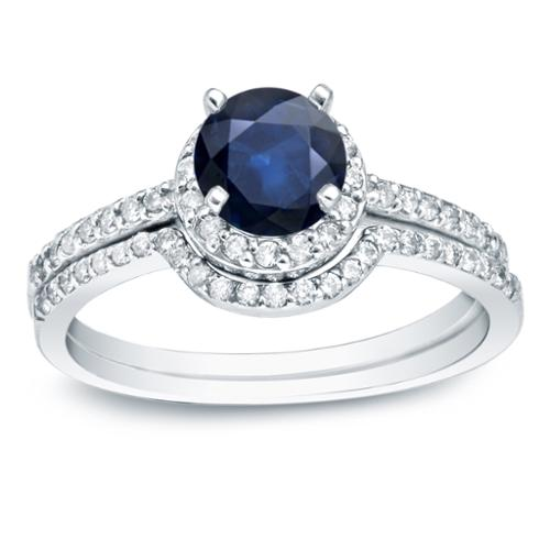Auriya 14k Gold 3/5ct Blue Sapphire and 2/5ct TDW Round Diamonds Bridal Ring Set (H-I, SI1-SI2) Yellow Gold - Size 5