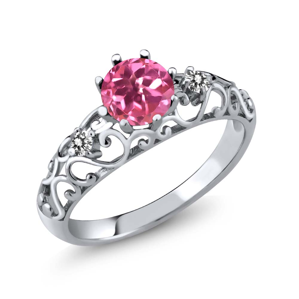 1.12 Ct Round Pink Mystic Topaz White Diamond 925 Sterling Silver Ring by