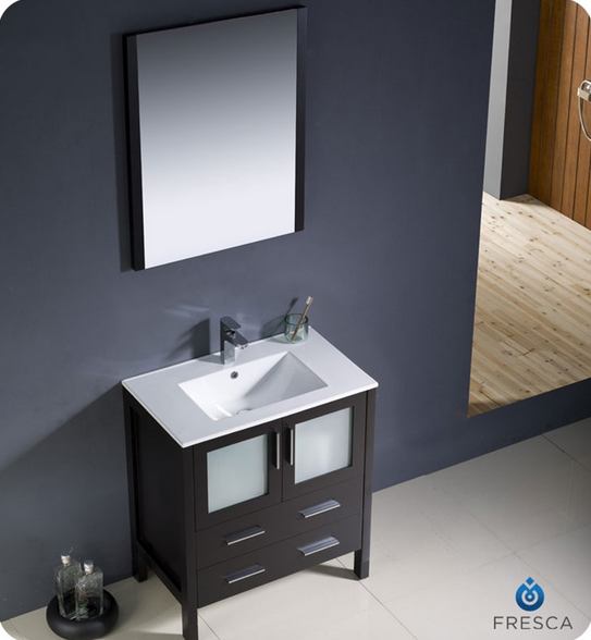 Fresca Torino 30'' Single Modern Bathroom Vanity Set with Mirror