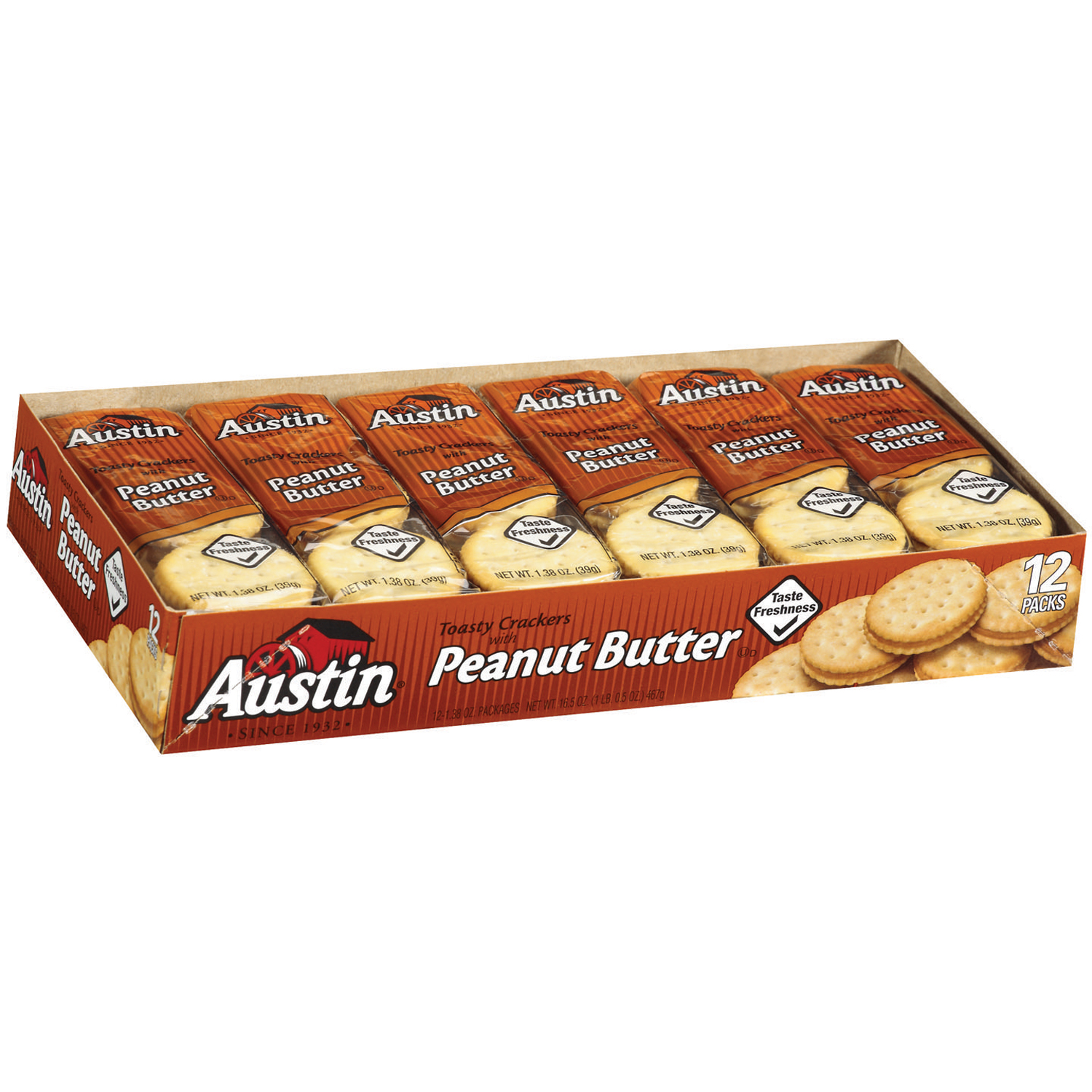 Austin Toasty Crackers with Peanut Butter, 1.38 oz, 27 count