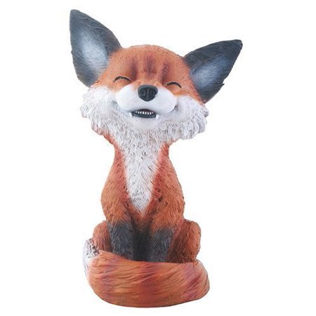 Brown and Black Smiling Fox Teehee Themed Decorative Figurine -
