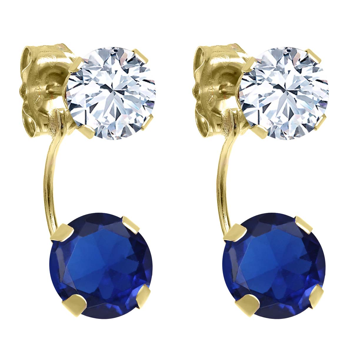 3.50 Ct Round Blue Simulated Sapphire 14K Yellow Gold Earrings