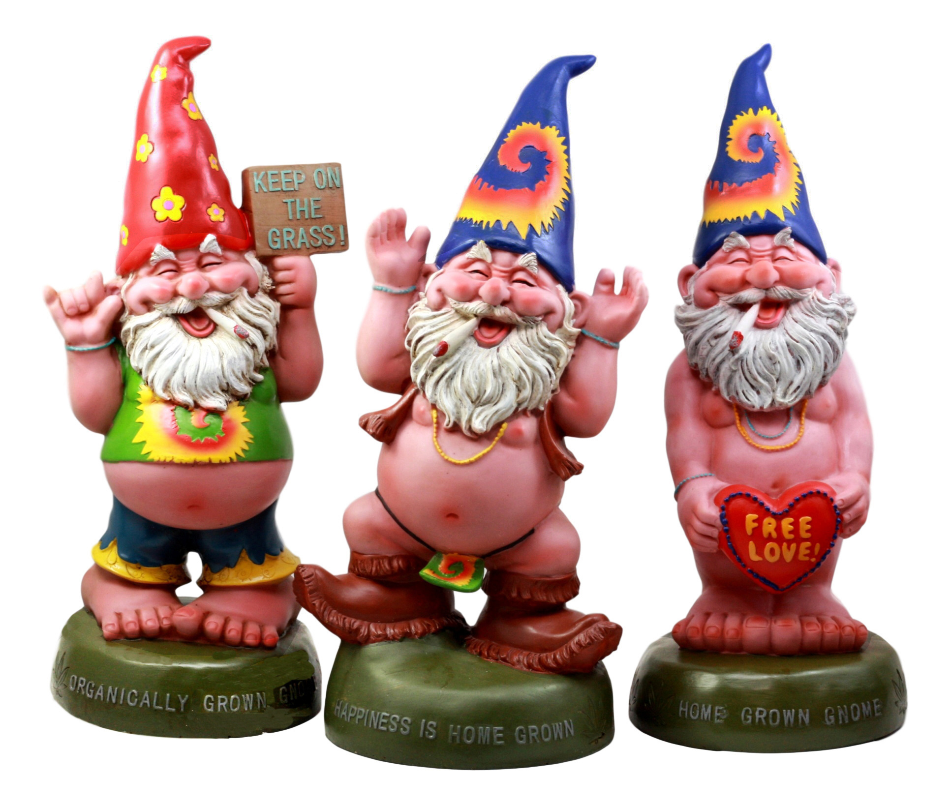 "Ebros Free Spirited Pot Smoking Hippie Gnome Statue Set 13.5""H Carefree Garden Gnomes Sculptures by"