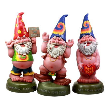 Ebros Free Spirited Pot Smoking Hippie Gnome Statue Set 13.5