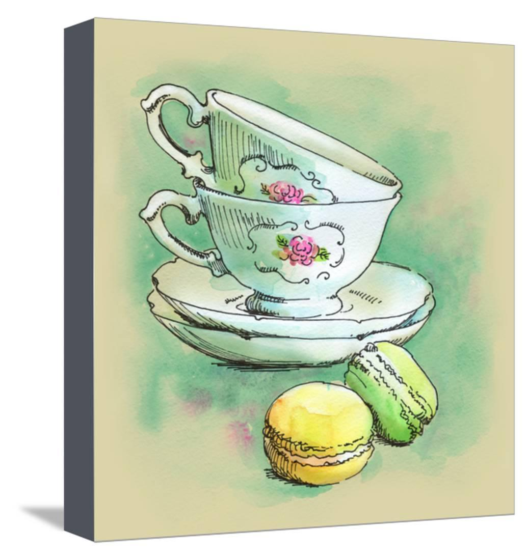 Painted Watercolor French Dessert Macaroons and Tea Cups Stretched Canvas Print Wall Art By lozas