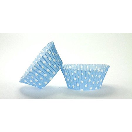 Spiderman Cupcake Wrappers (50pc Light Blue Polka Dot Design Standard Size Cupcake Baking Cups Liners)