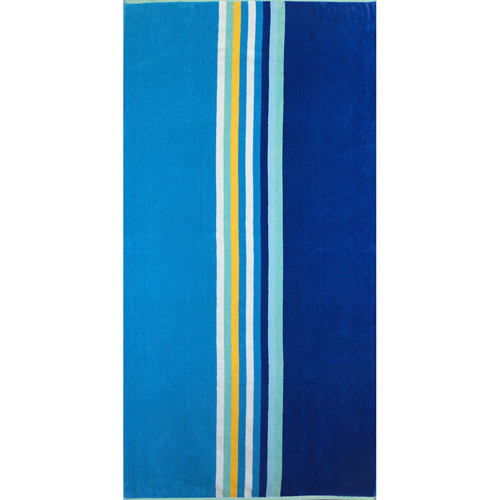 BALTIC LINEN Oversized Jacquard Yarn Dyed Beach Towels 34 by 64 Inch Surf Wave Blue