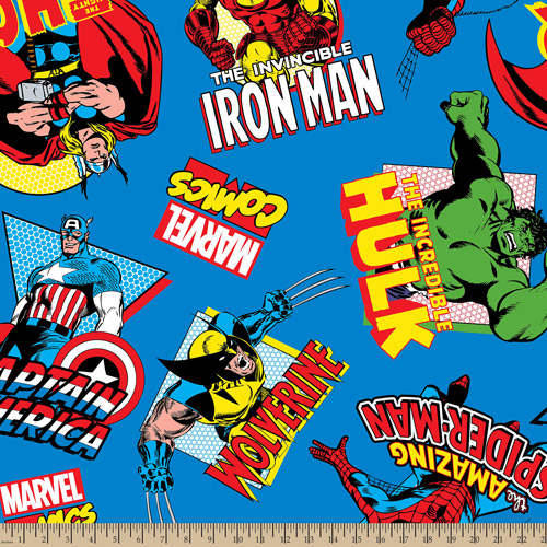 "Marvel Comic, Character Toss, Minky Fleece, Blue, 59/60"" Wide, Fabric by the Yard"