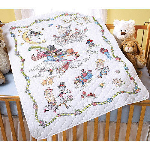 """Bucilla Mary Engelbreit Mother Goose Crib Cover Stamped Cross Stitch Kit, 34"""" x 43"""""""