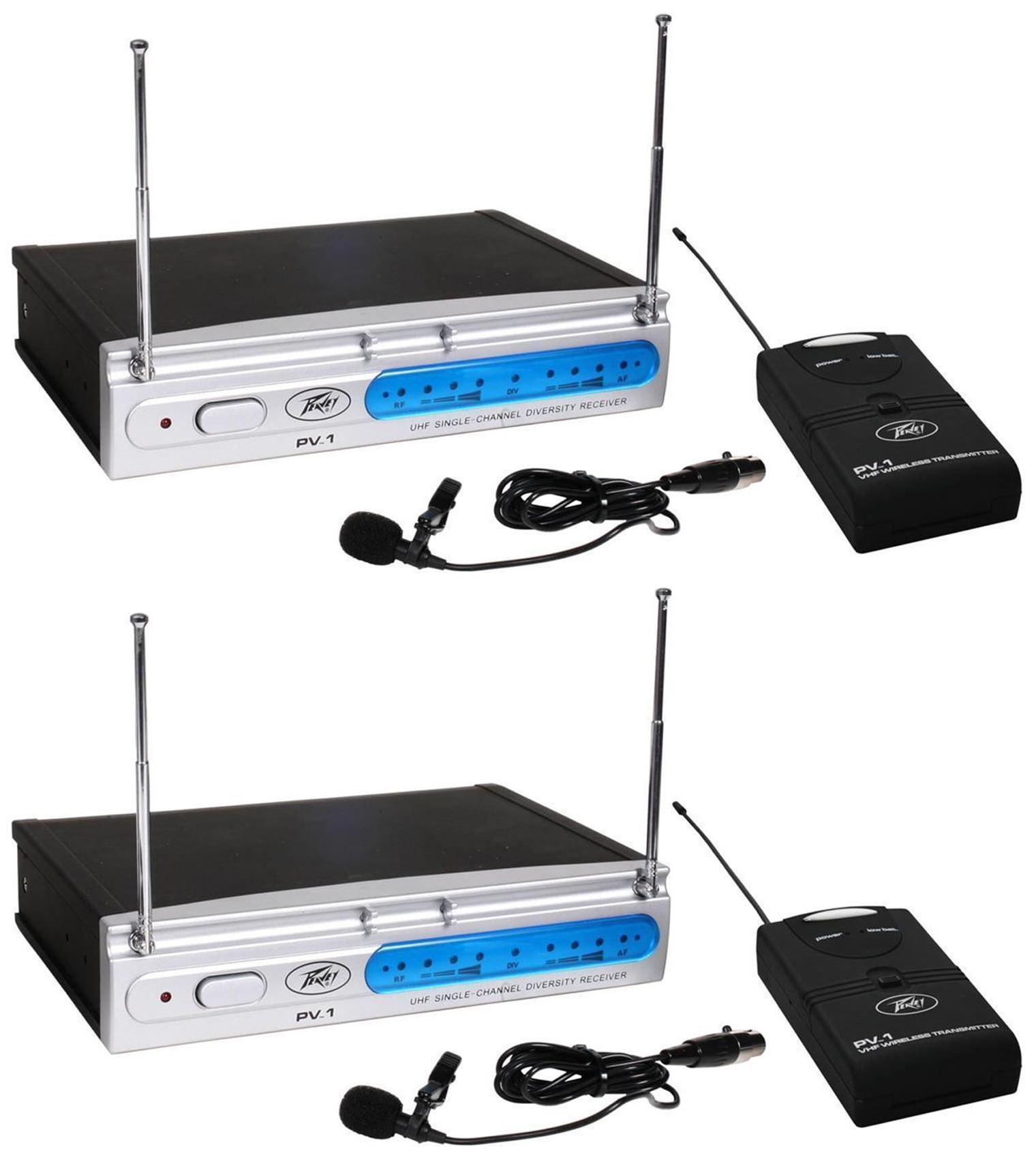 (2) Peavey PV-1 V1 BL 203.400 MHZ VHF Wireless Lavalier Microphone Systems