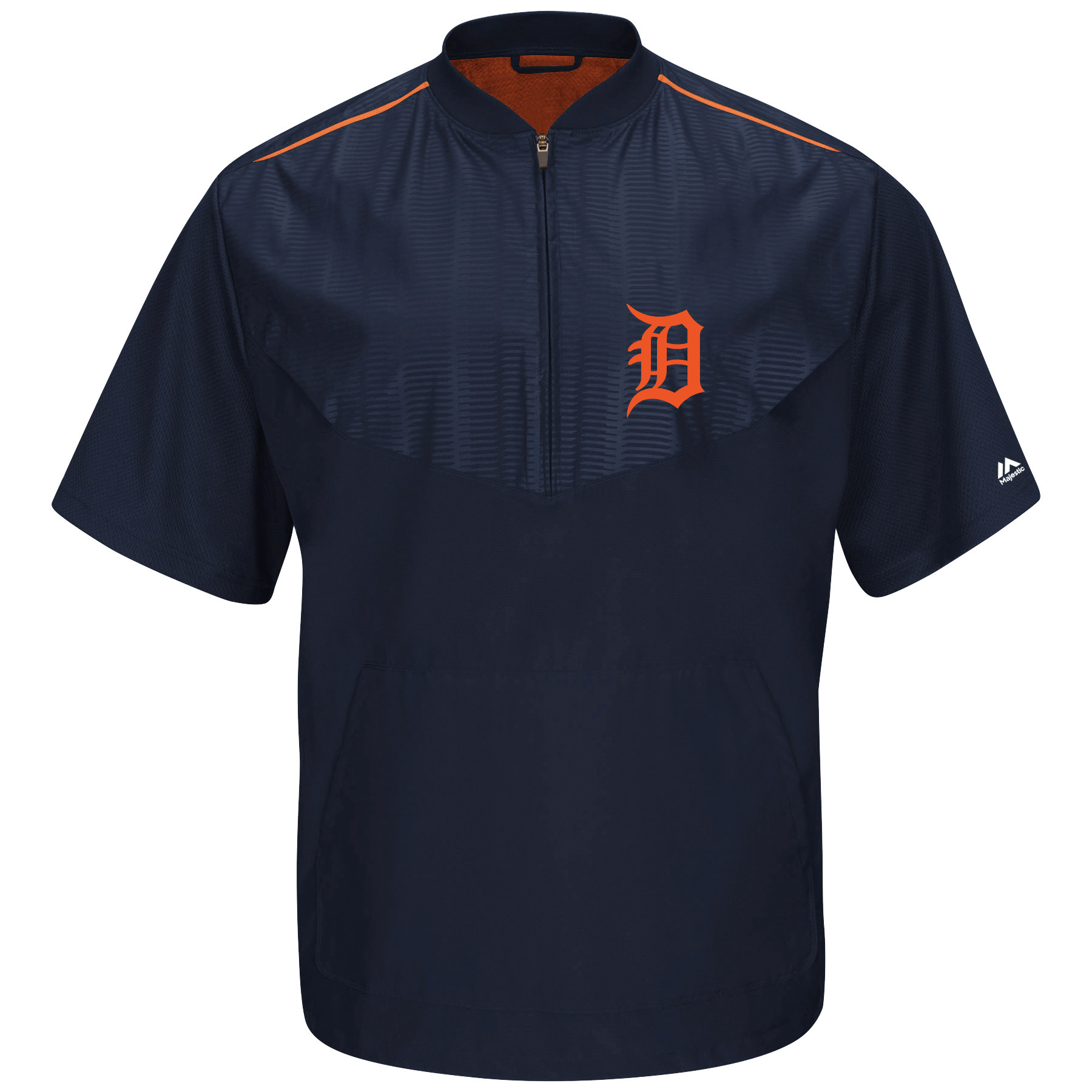 Detroit Tigers Majestic On-Field Training Short Sleeve Half-Zip Jacket - Navy