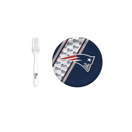 New England Patriots 20 Pc Disposable Paper Plates And 20 Pc Plastic Forks - New England Patriots Plates