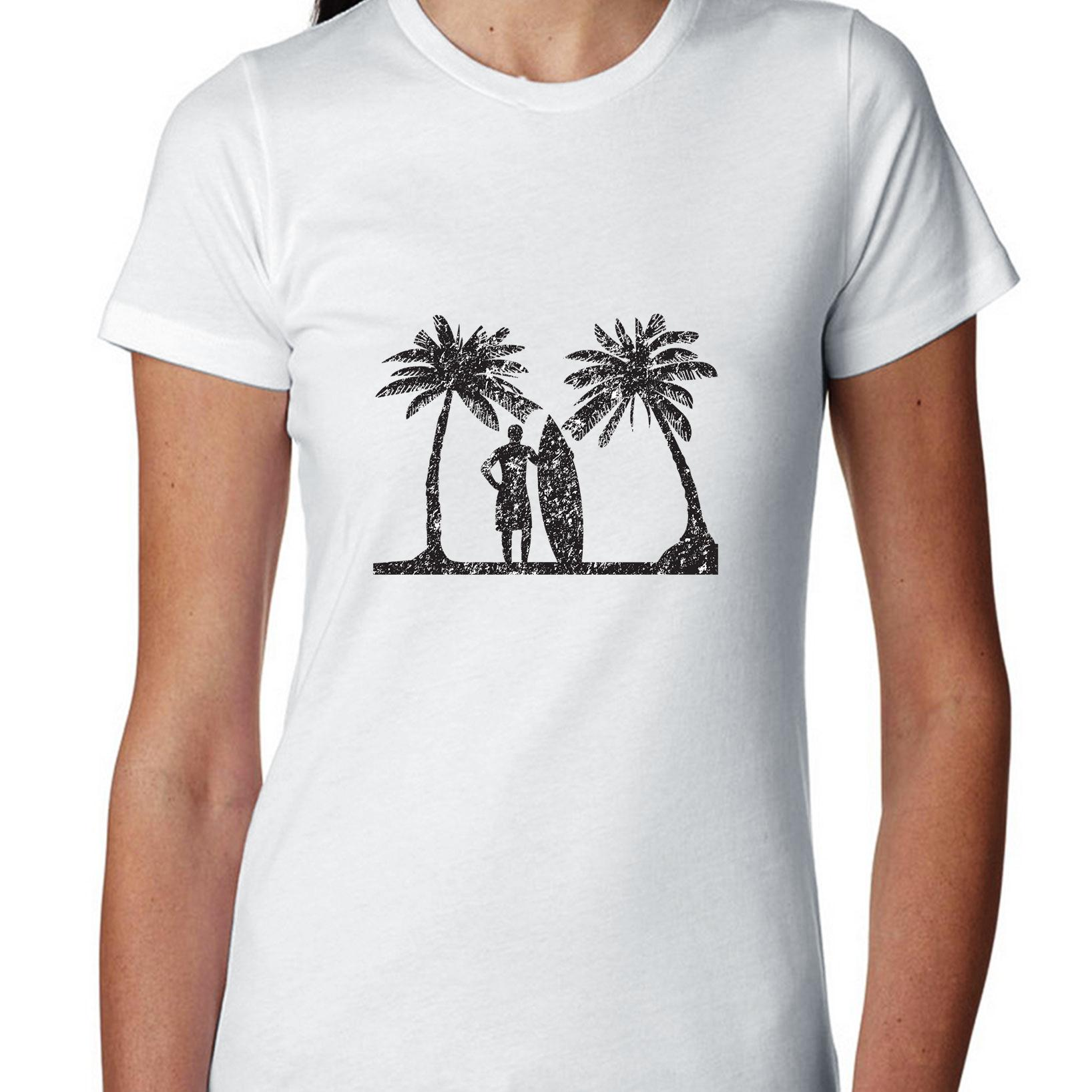 Classic Surfing Scene Surfer With Surfboard Palm Trees Women's Cotton T-Shirt