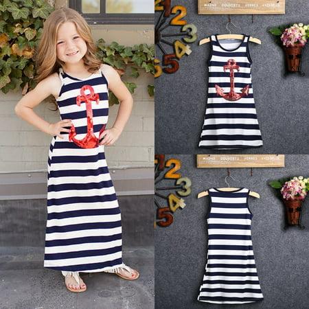 Navy Blue Kids Girls Red Sequins Anchor Maxi Stripes Dress Summer Boho Sundress