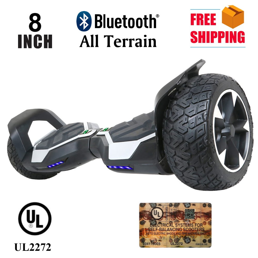 "All Terrain 8.5"" Inch Wheels Hoverboard Off-Road Self Balancing Electric Scooter With Bluetooth- Gray"