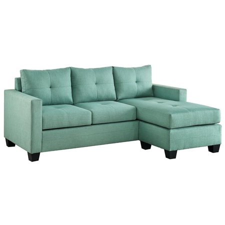 Contemporary Sectional Sofa With Reversible Chaise , Teal Green ()