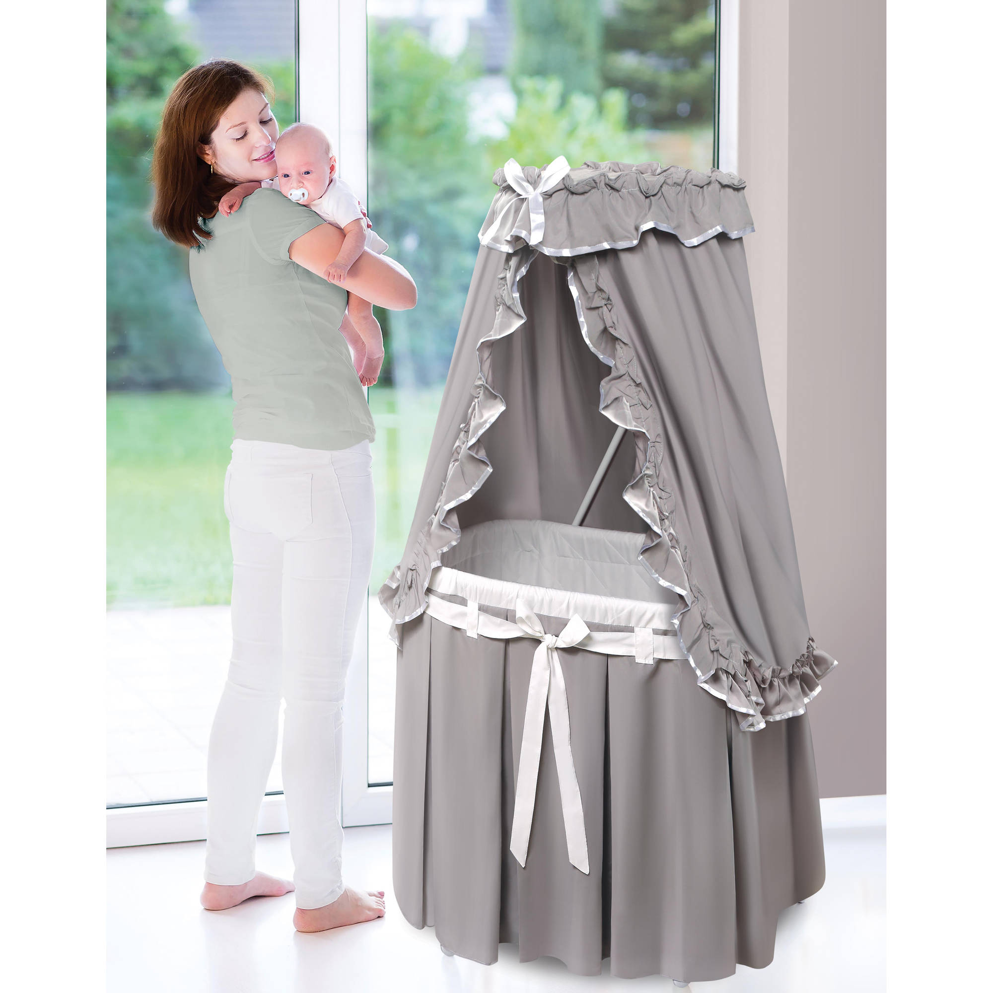 Badger Basket Majesty Baby Bassinet with Canopy, Gray and White Bedding by Badger Basket