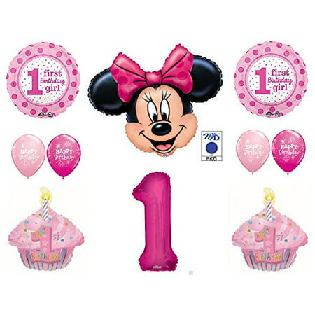 Minnie Mouse Cupcakes 1st First Birthday Party Balloons Decorations Supplies