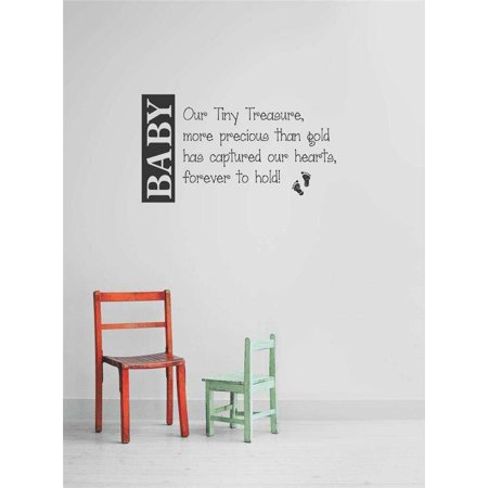 Custom Wall Decal Sticker : Baby Our Tiny Treasure, More Precious Than Gold Has Captured Our Hearts, Forever To Hold! Footprints Quote 10x20 - Funny Halloween Pics And Quotes