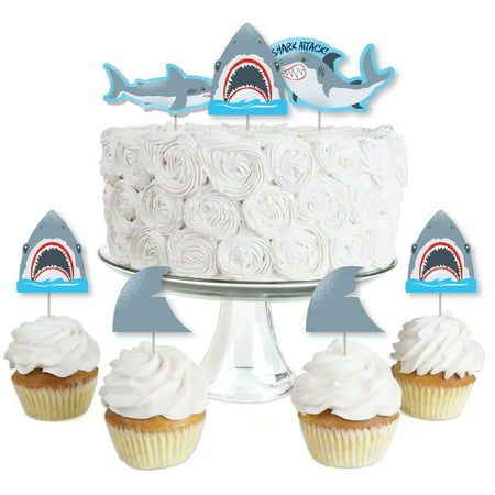 Shark Zone - Dessert Cupcake Toppers - Jawsome Shark Party or Birthday Party Clear Treat Picks - Set of 24](Happy Birthday Shark)