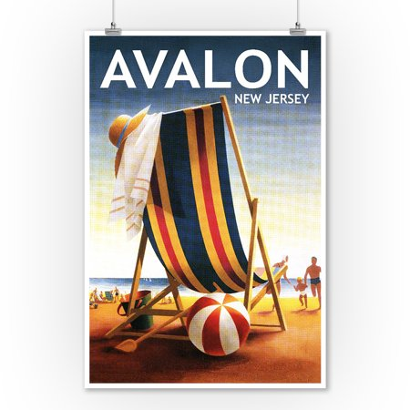 Avalon, New Jersey - Beach Chair and Ball - Lantern Press Poster (9x12 Art Print, Wall Decor Travel Poster)