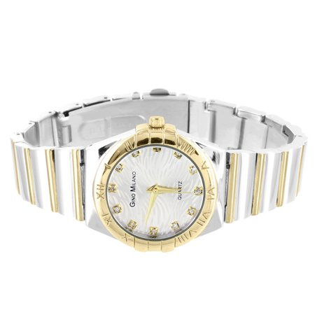 Womens 2 Tone Watch Gino Milano Luxury Style Fashion Gold Silver Tone 30mm (Milano Ladies Fashion Watch)