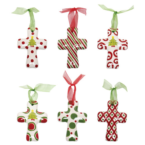 Thompson and Elm 6 Piece M.Bagwell Cross Ornament Set