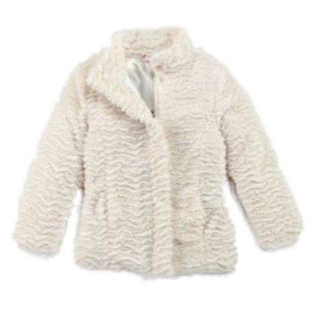a5e16359c Pistachio - Pistachio Girls Ivory Faux Fur Winter Coat Fur Satin ...