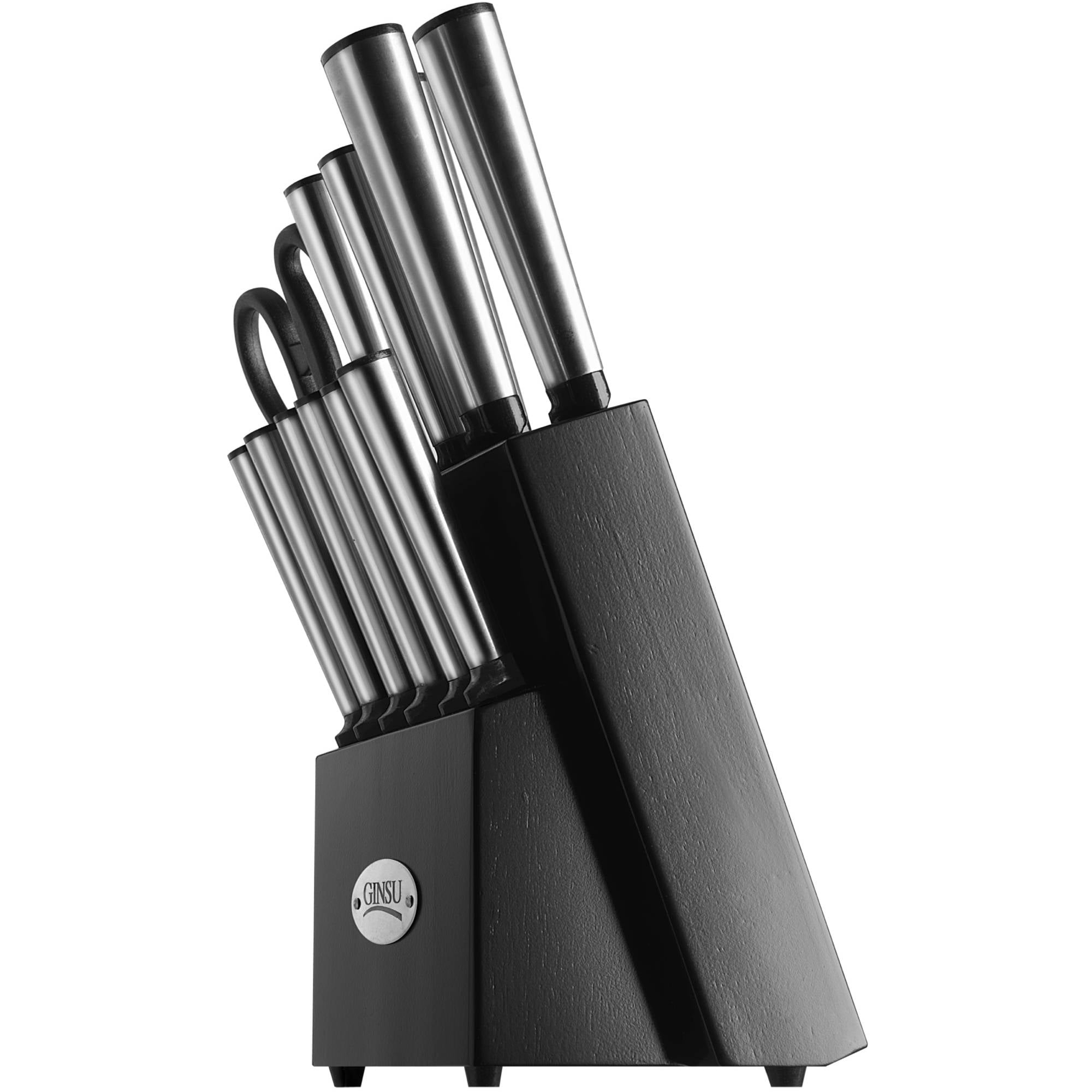 Click here to buy Ginsu Koden Series 14-Piece Stainless Steel Serrated Knife Set � Cutlery Set with Stainless Steel Kitchen Knives in a Black Block,... by Ginsu Brands a Scott Fetzer company.